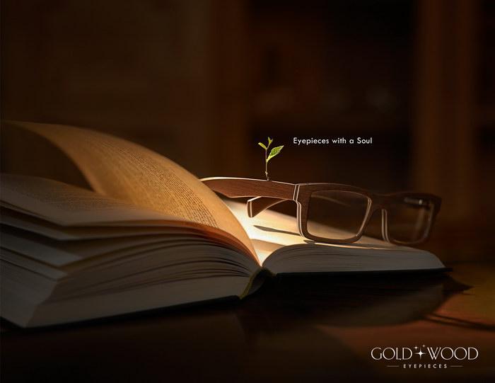 黄金木眼镜平面广告